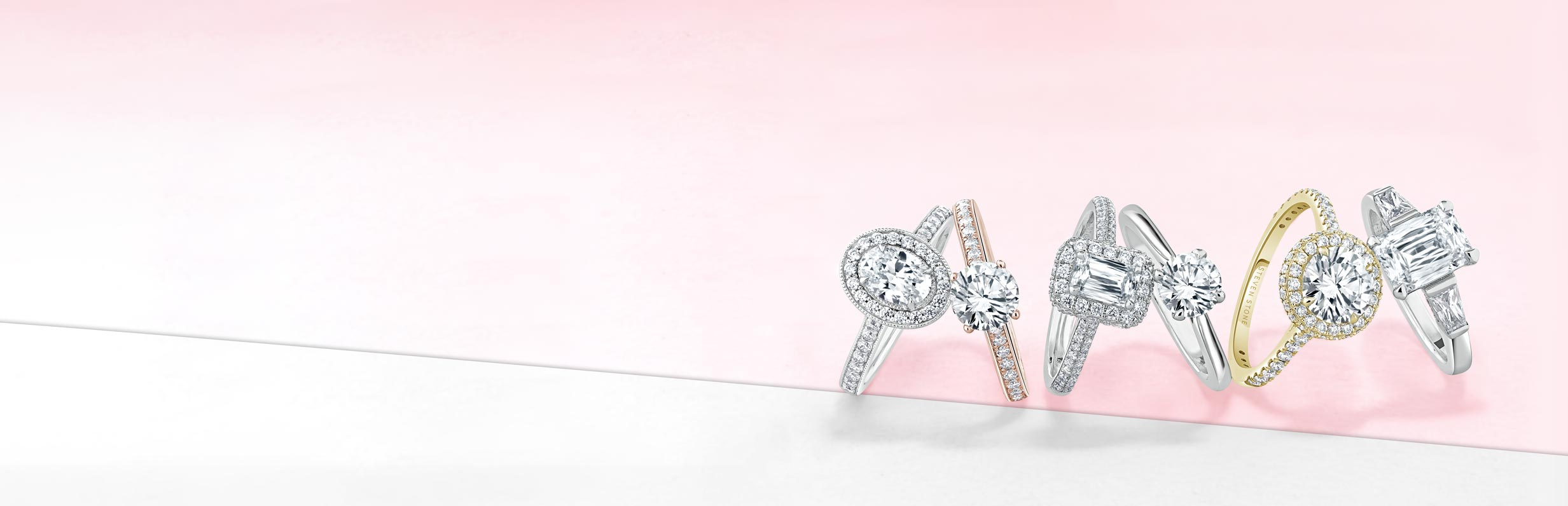 White Gold Shoulder Set Engagement Rings - Steven Stone