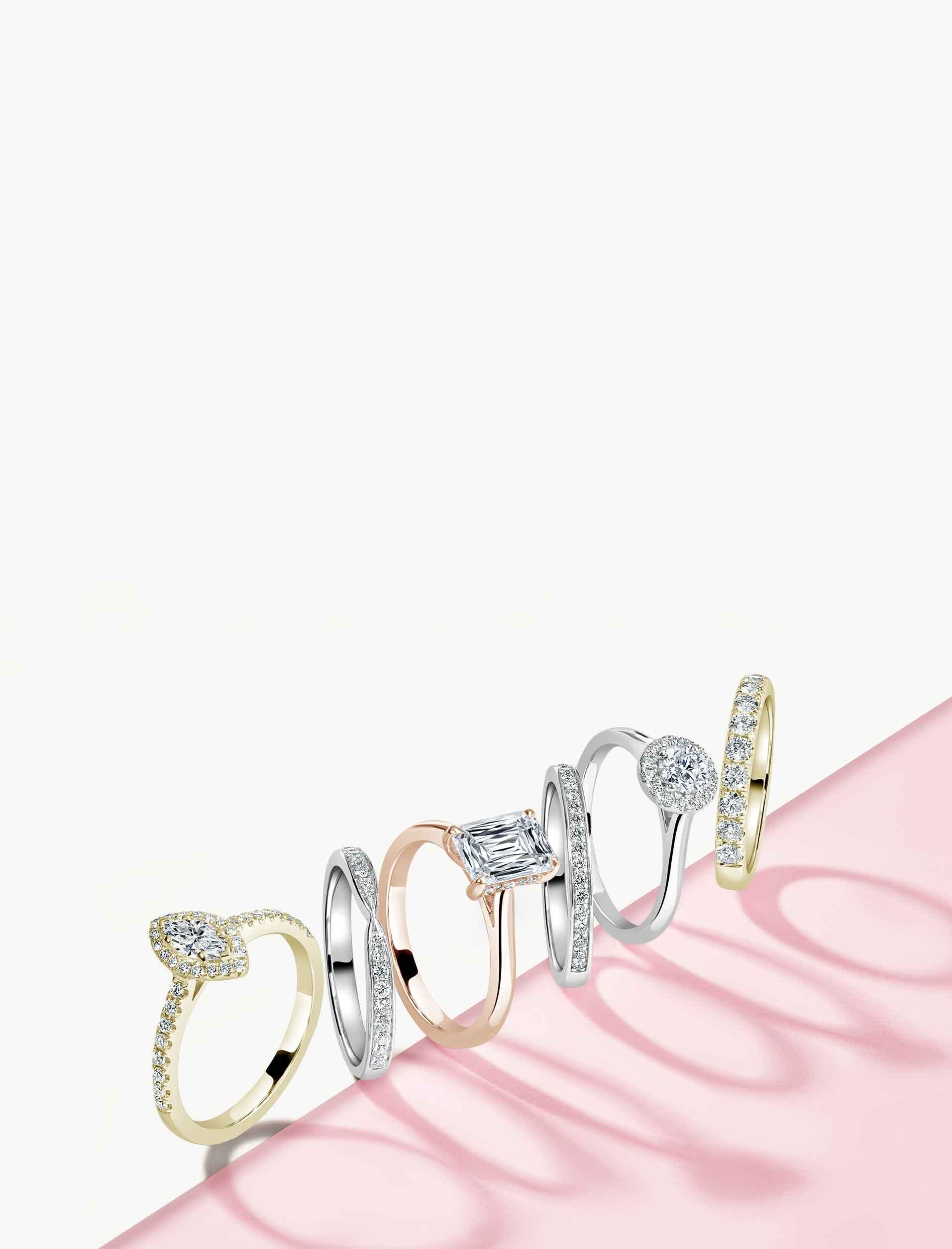 Rose Gold 3 Stone Engagement Rings - Steven Stone