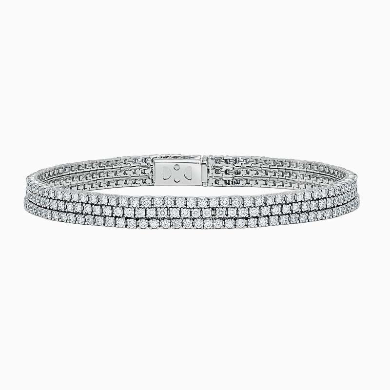 Triple Row Diamond Line Bracelet