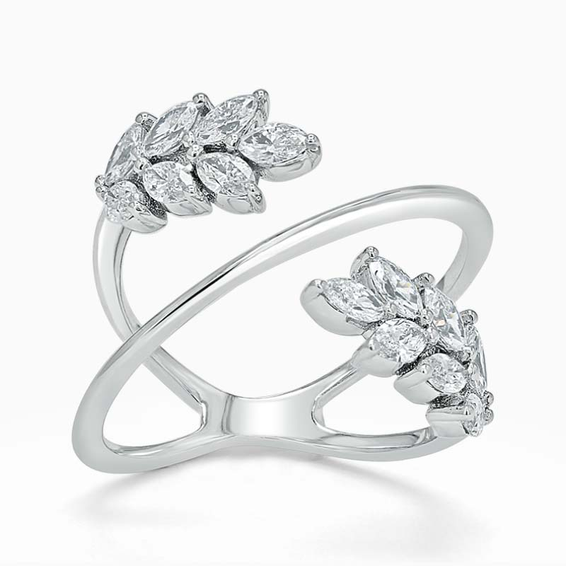 Feather Crossover Diamond Ring