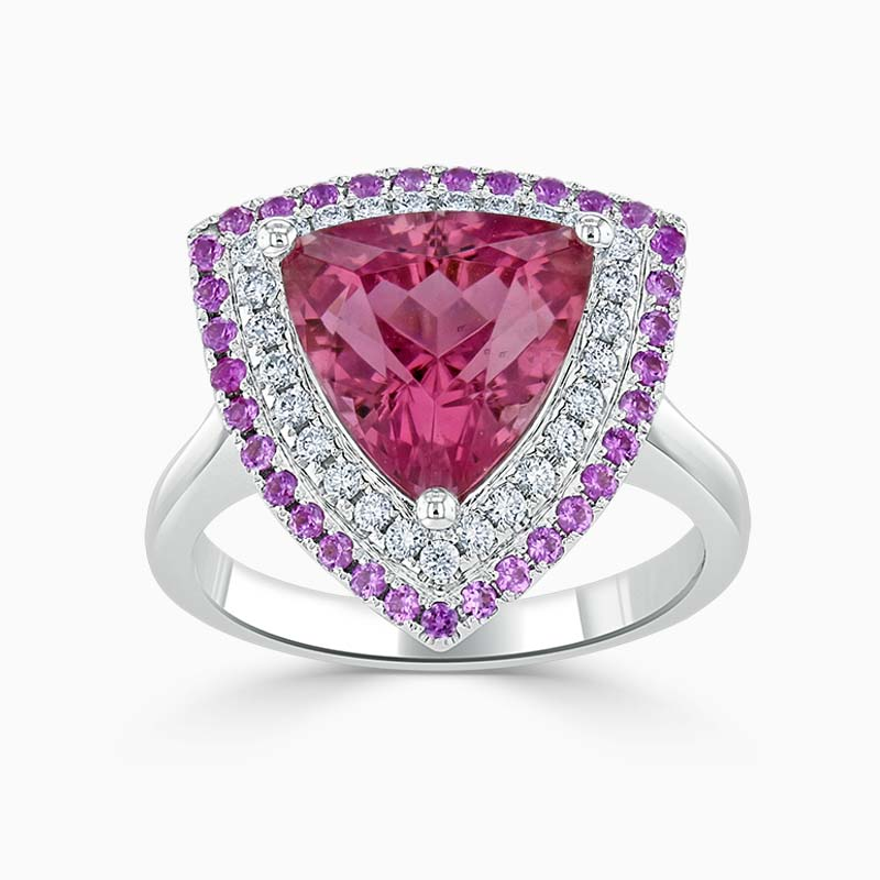 Trillion Pink Tourmaline & Diamond Double Halo Ring