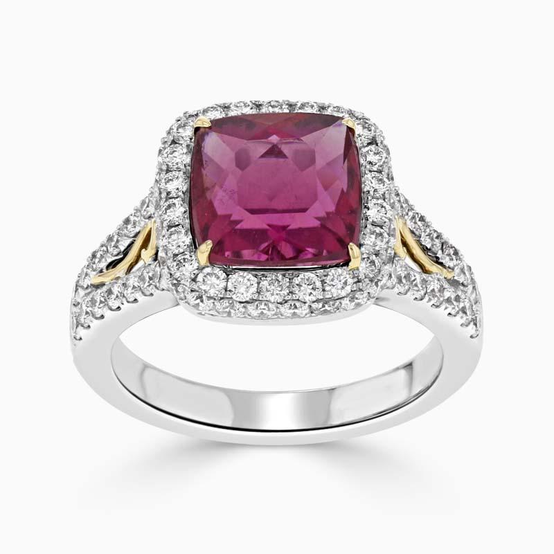 Cushion Cut Rubellite Diamond Halo Ring