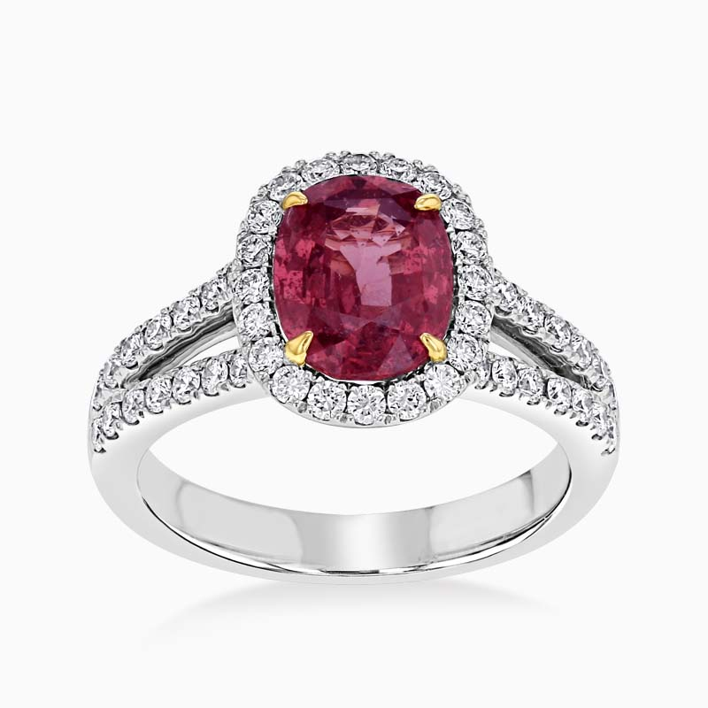 Oval Padparadscha Sapphire and Diamond Halo Ring