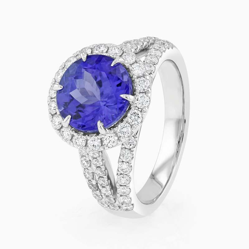 Round Tanzanite and Diamond Halo Ring