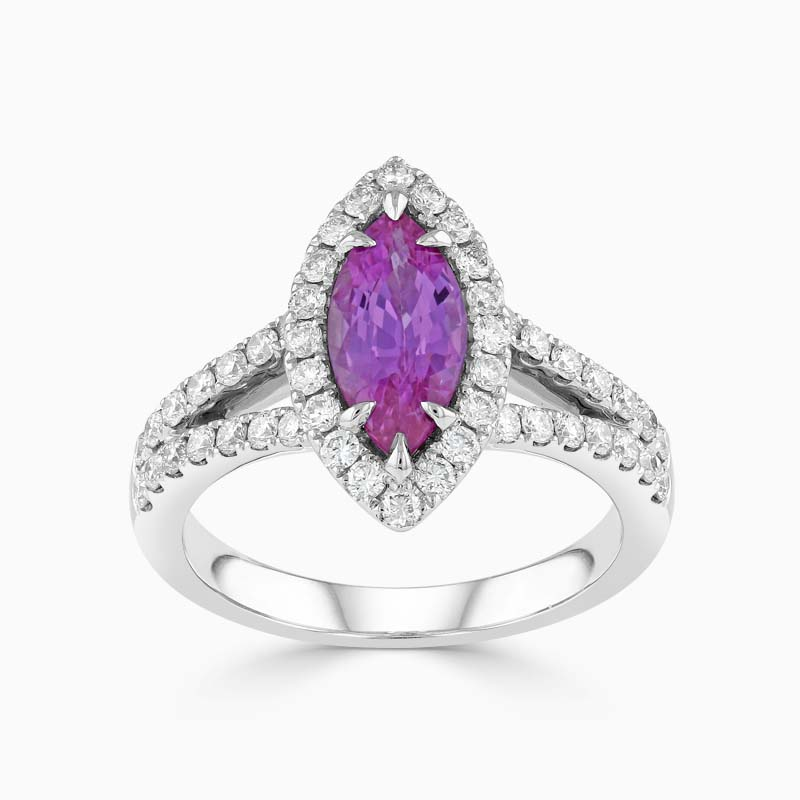 Marquise Pink Sapphire and Diamond Halo Ring