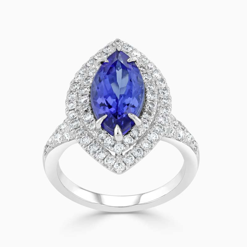 Marquise Tanzanite and Diamond Halo Ring