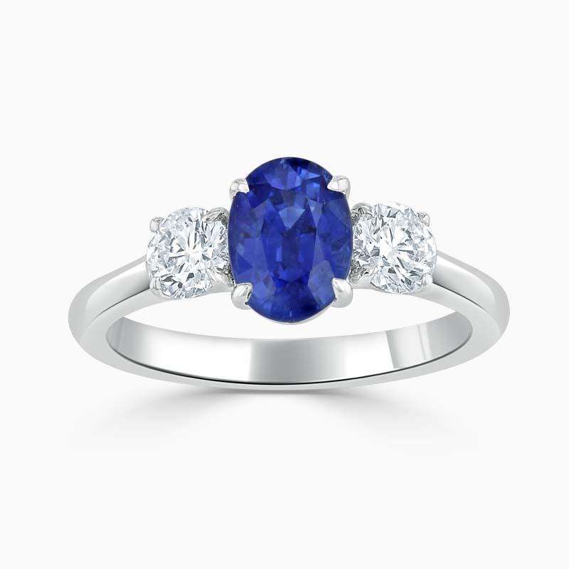Oval Sapphire & Diamond Three Stone Ring