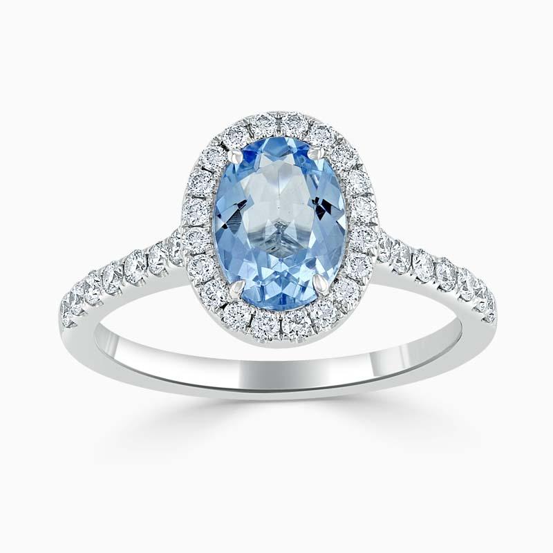 Oval Aquamarine & Diamond Halo Ring