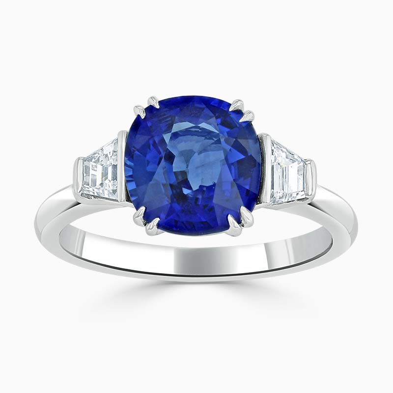Platinum Cushion Cut Sapphire & Diamond Ring (3.22ct)