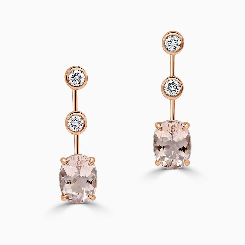 Oval Morganite & Diamond Drop Earrings