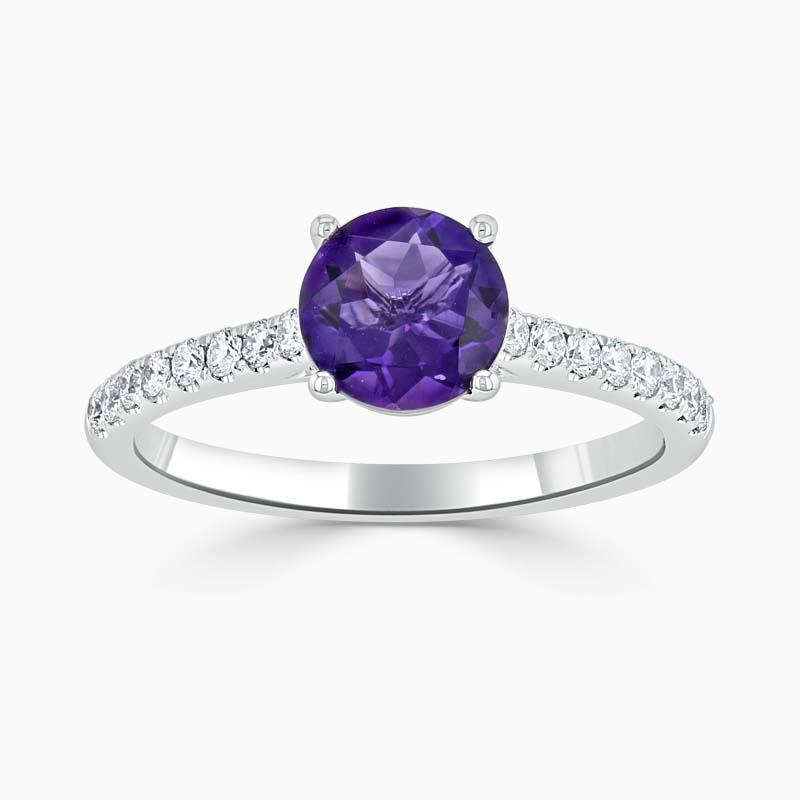 Round Brilliant Amethyst & Diamond Cutdown Shoulder Ring