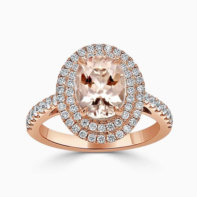 Oval Morganite & Diamond Double Halo Ring