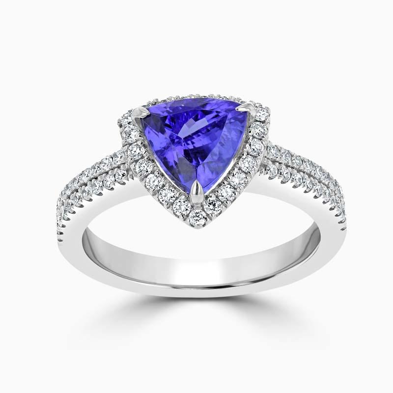 Trillion Cut Tanzanite Halo & Diamond Dress Ring