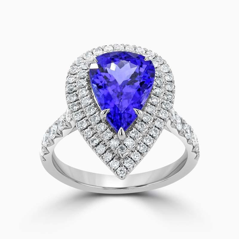 Pear Shape Tanzanite and Diamond Double Halo Ring