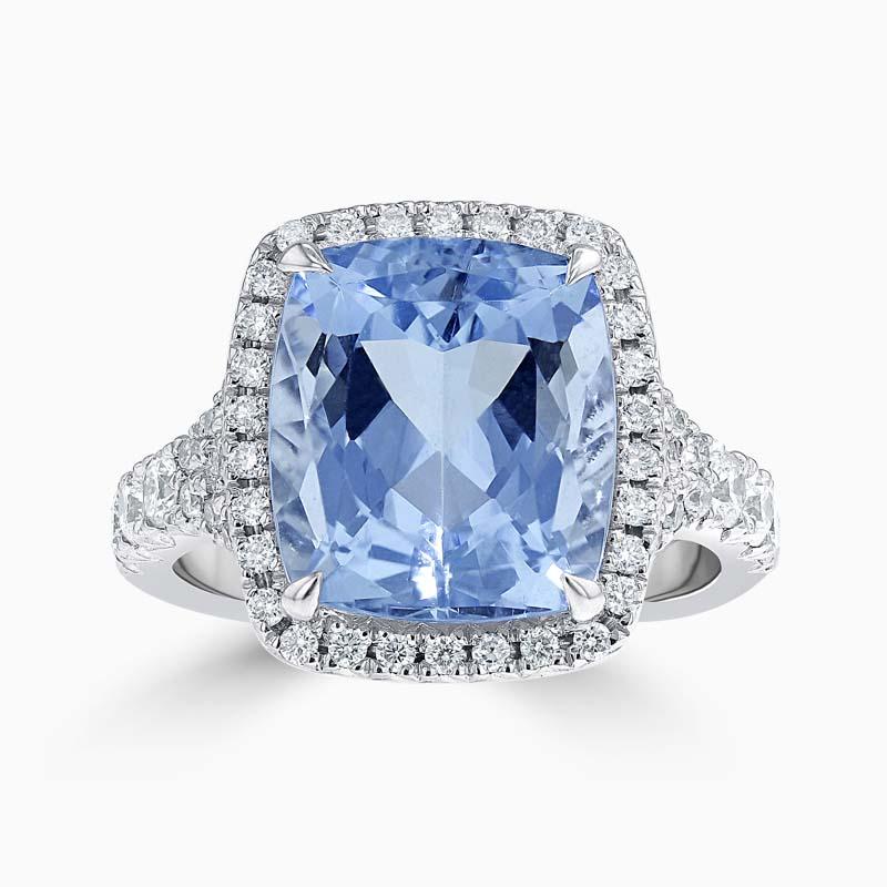 Cushion Cut Aquamarine & Diamond Set Dress Ring
