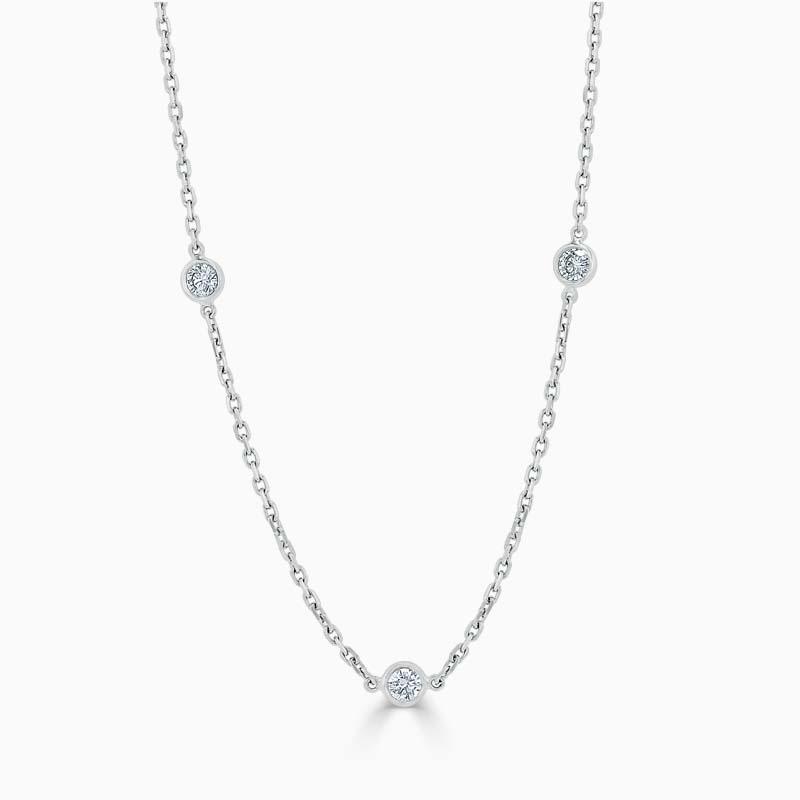 Spectacle Set Diamond Necklace - 3 Stone