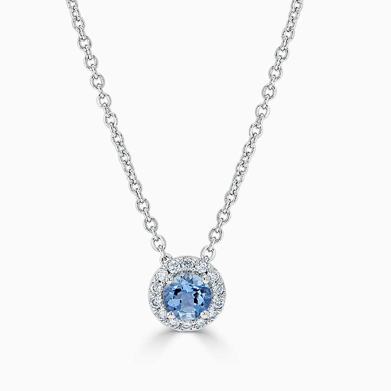 Aquamarine and Diamond Cutdown Halo Pendant