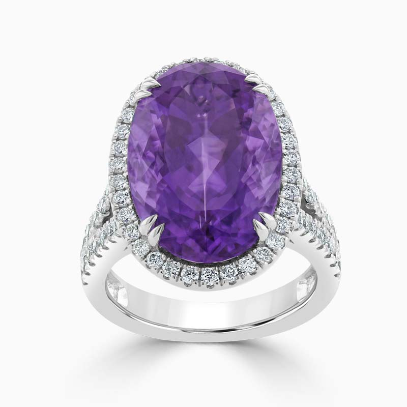 Oval Amethyst and Diamond Pave Halo Dress Ring