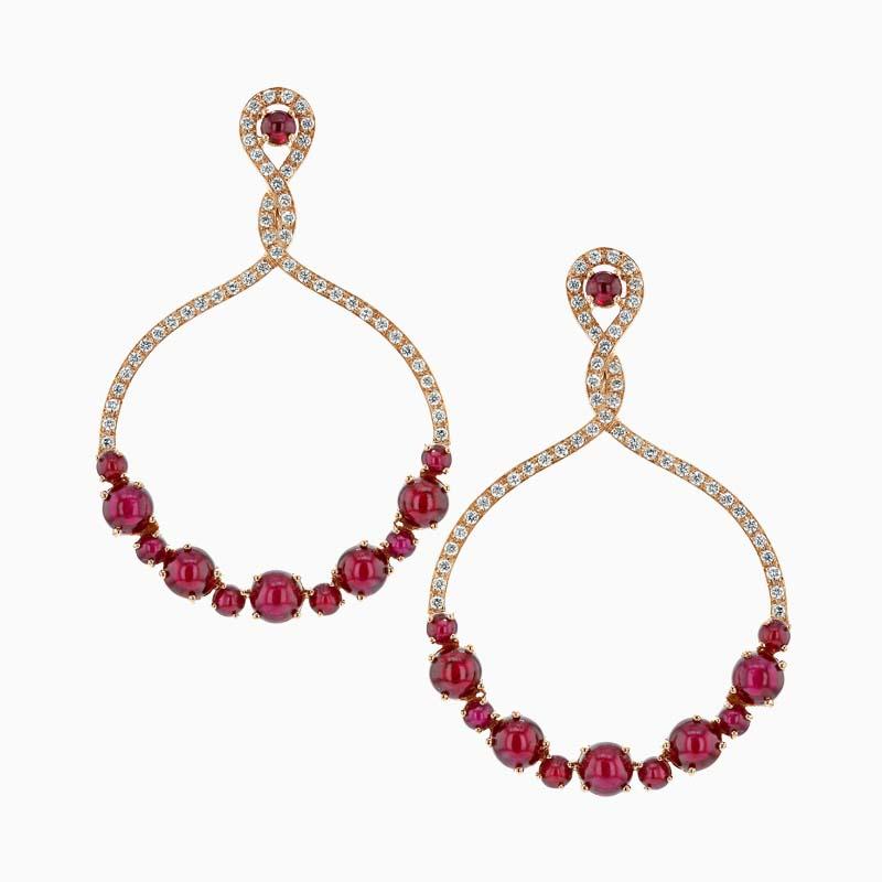 Cabochon Ruby & Diamond Round Drops