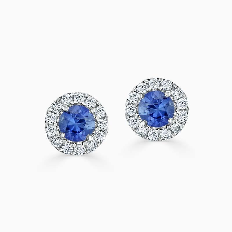 Sapphire & Diamond Cutdown Halo Studs