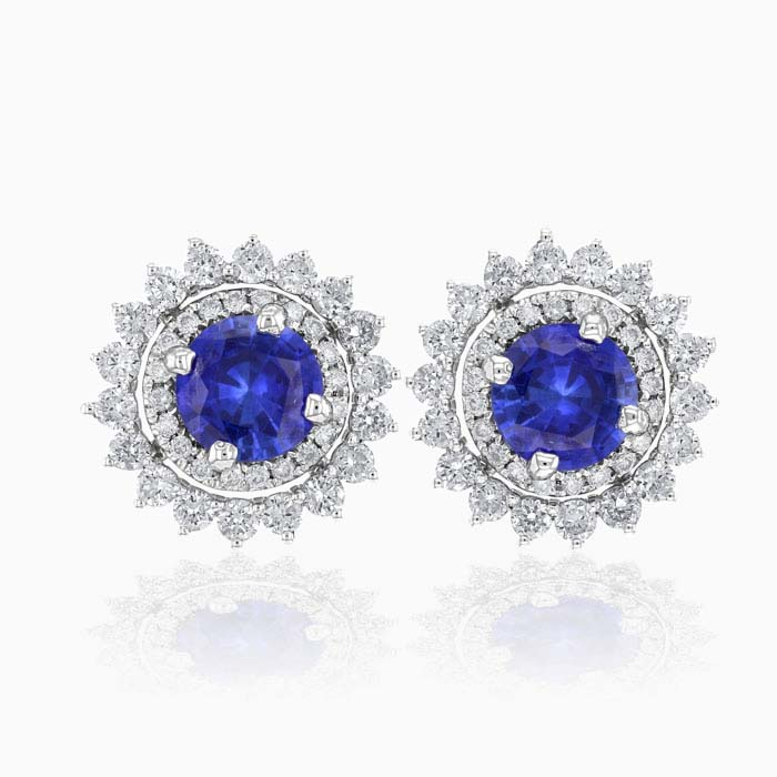 Round Sapphire and Diamond Halo Stud with Removable Jackets