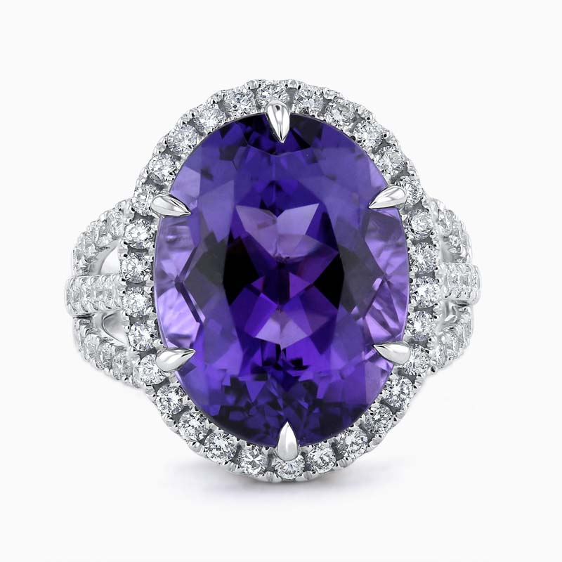Oval Amethyst and Diamond Triple Band Dress Ring