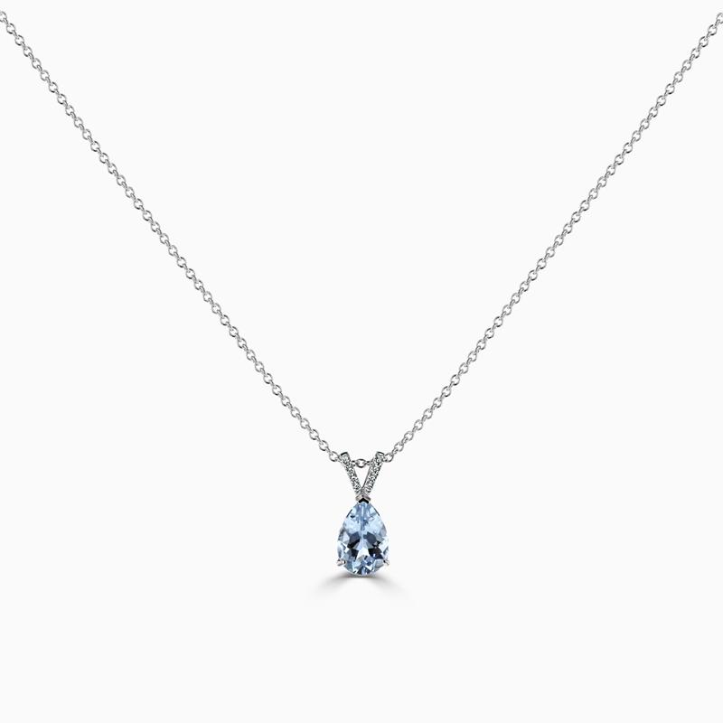 Pear Shape Aquamarine & Diamond Pendant