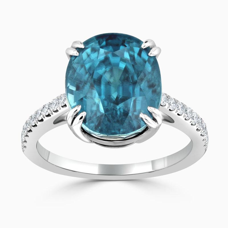 Oval Blue Ziron & Diamond Ring