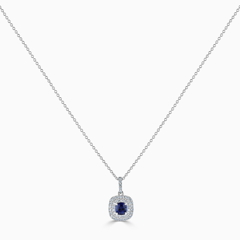 Cushion Sapphire & Diamond Double Halo Pendant