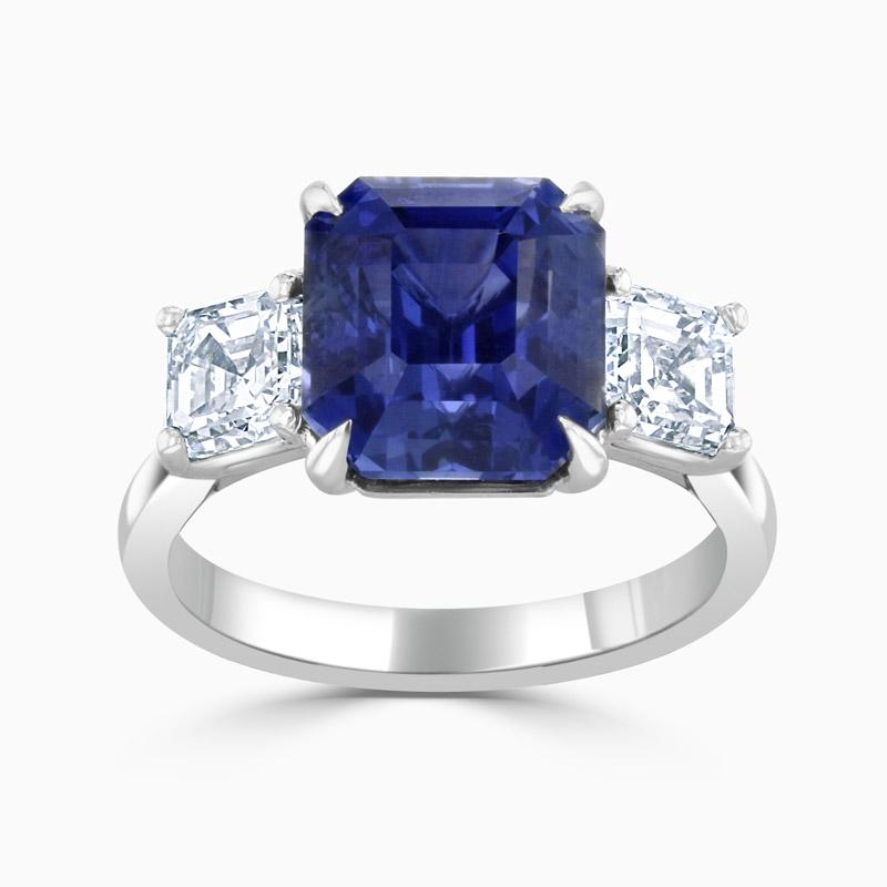 Asscher Cut Sapphire & Diamond Three Stone Ring