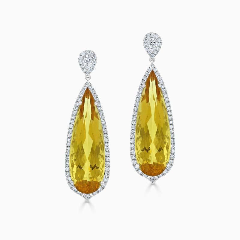 Golden Beryl & Diamond Drop Earrings