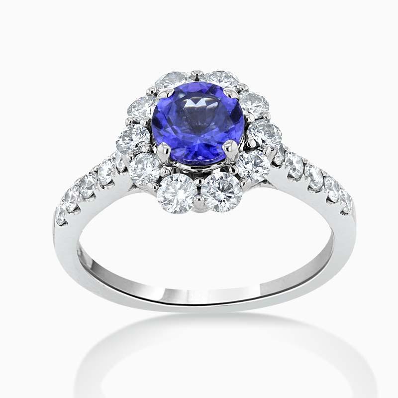 Tanzanite & Diamond Cluster Halo Ring
