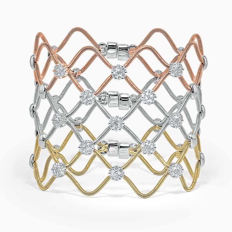 Florence Tri Colour Gold Diamond Bangle
