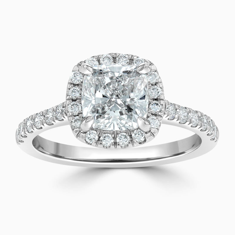 Platinum 950 Cushion Cut Classic Wedfit Halo Engagement Ring with Cushion, 1.54ct, H Colour, SI1 Clarity - GIA