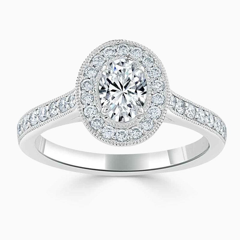 Platinum 950 Oval Shape Vintage Pavé Halo Engagement Ring with Oval, 0.54ct, D Colour, SI1 Clarity - GIA
