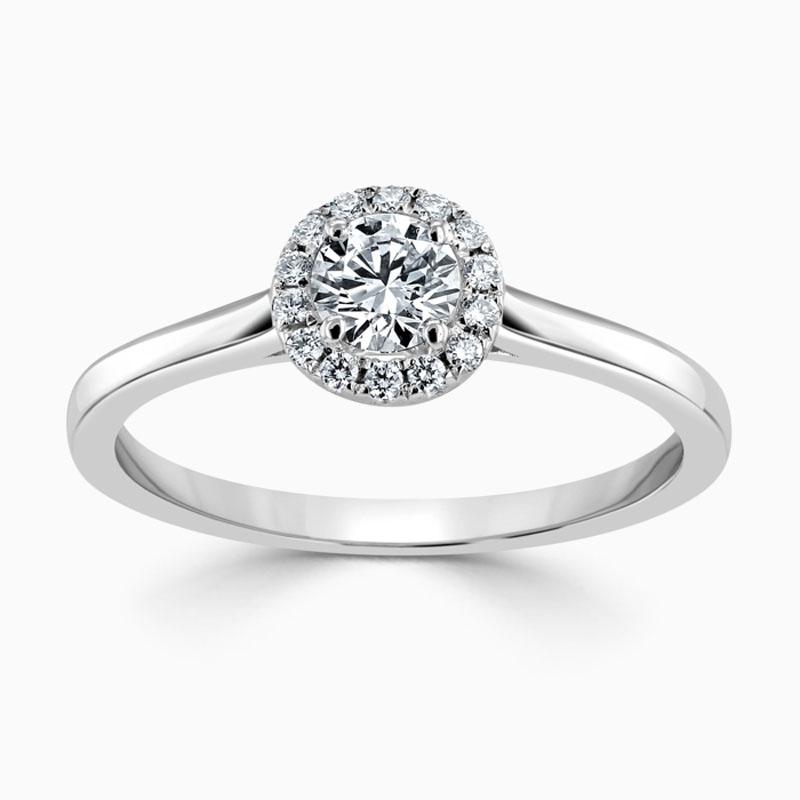 Platinum 950 Round Brilliant Classic Plain Halo Engagement Ring with Round, 0.4ct, E Colour, VS2 Clarity - GIA