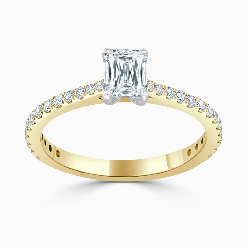 18ct Yellow Gold Crisscut Classic Wedfit Cutdown Engagement Ring with Crisscut, 0.53ct, G Colour, VS1 Clarity - GIA