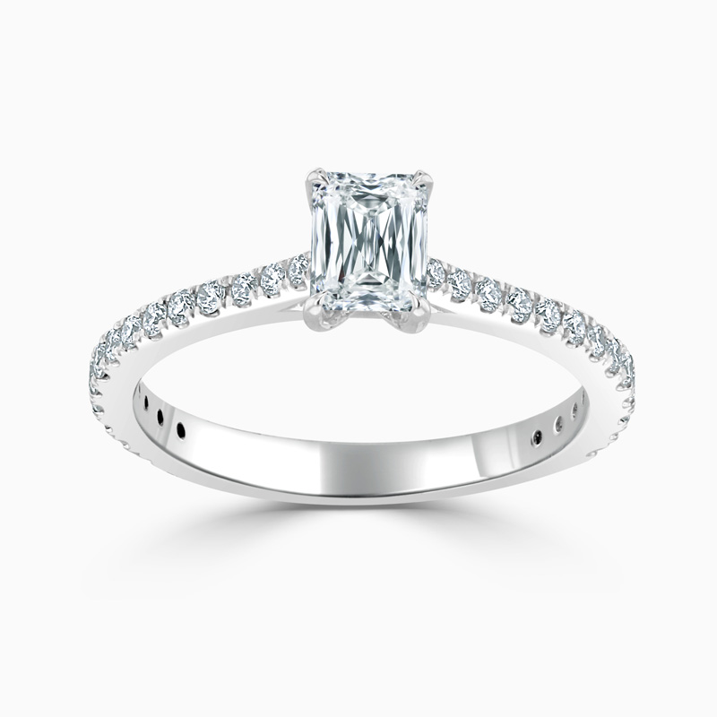 Platinum Crisscut Classic Wedfit Cutdown Engagement Ring with Crisscut, 0.53ct, G Colour, VS1 Clarity - GIA