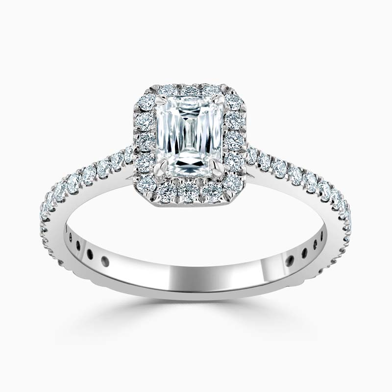 Platinum Crisscut Classic Wedfit Halo Engagement Ring with Crisscut, 0.51ct, F Colour, VS1 Clarity - GIA