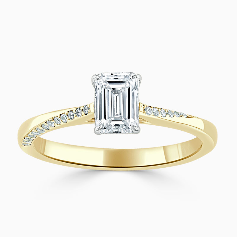 18ct Yellow Gold Emerald Cut Vortex Engagement Ring with Lab Grown Emerald, 0.50ct, G Colour, VS2 Clarity - IGI