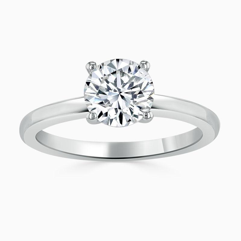 Platinum 950 Round Brilliant Simplicity Engagement Ring with Round, 0.65ct, G Colour, VS Clarity - GIA