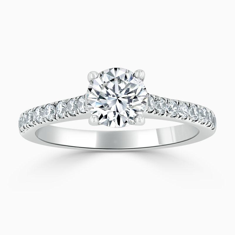 Platinum Round Brilliant Classic Wedfit Cutdown Engagement Ring with Round, 1.30ct, G Colour, VS Clarity - GIA