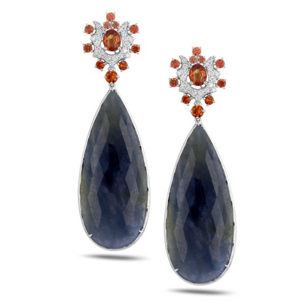 18ct white gold blue and orange sapphire and diamond earrings