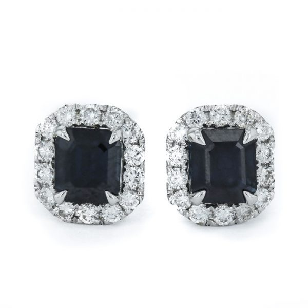 18ct white gold diamond sapphire earrings back to black jewellery image 1