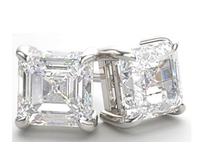Asscher cut diamond stud earrings
