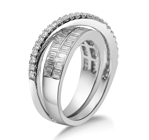 Crossover diamond dress ring