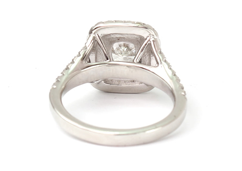Cushion cut halo diamond ring