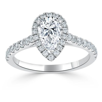 A large pear shaped diamond with a halo setting.