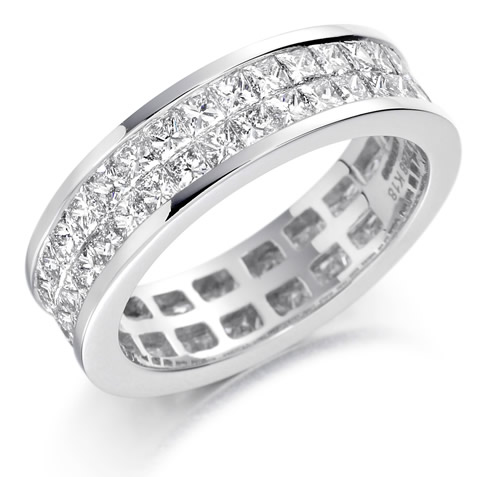 Diamond row ring channel