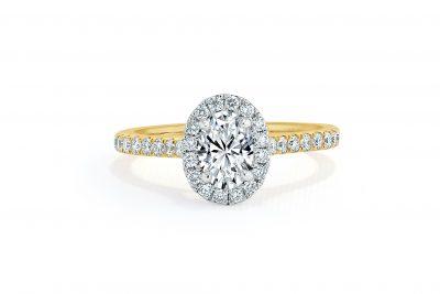 gold halo engagement ring shoulder set band